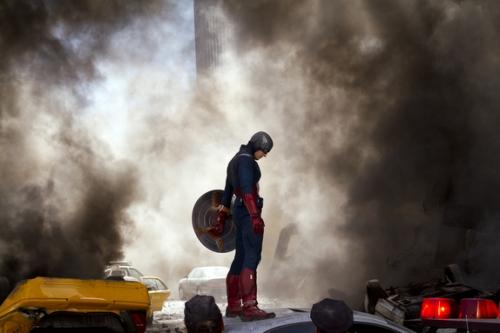 Captain America in ruins
