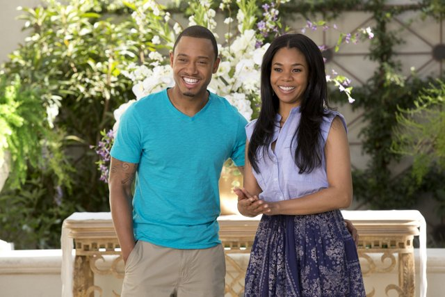 Matt Kennedy/Screen Gems Michael (Terrence J) and his fiancee Candace (Regina Hall) at their wedding rehearsal.