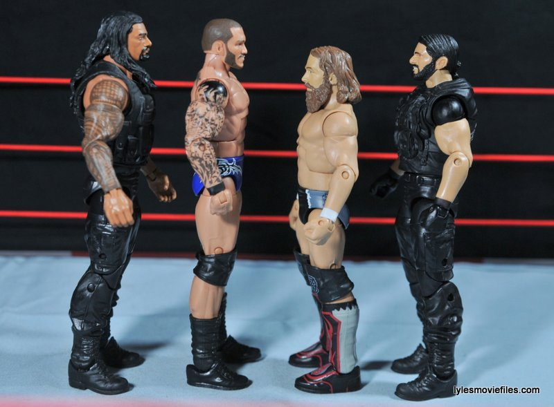 Daniel Bryan Mattel figure review - scale shot with Reigns, Orton and Rollins
