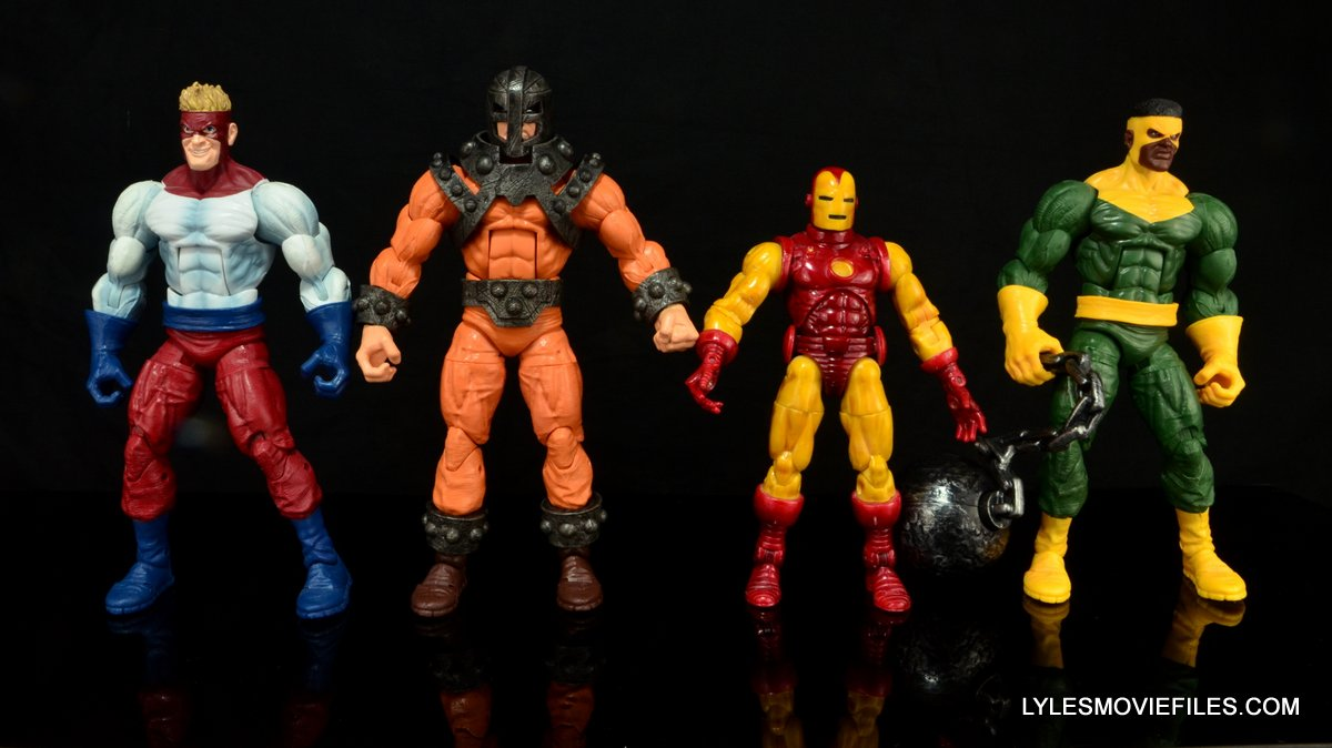 Marvel Legends Bulldozer review - scale shot with Wrecking Crew and Iron Man