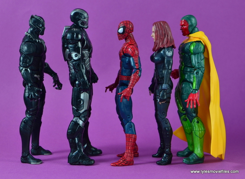 Marvel Legends Age of Ultron War Machine figure review - scale with Black Panther, Spider-Man, Black Widow and Vision