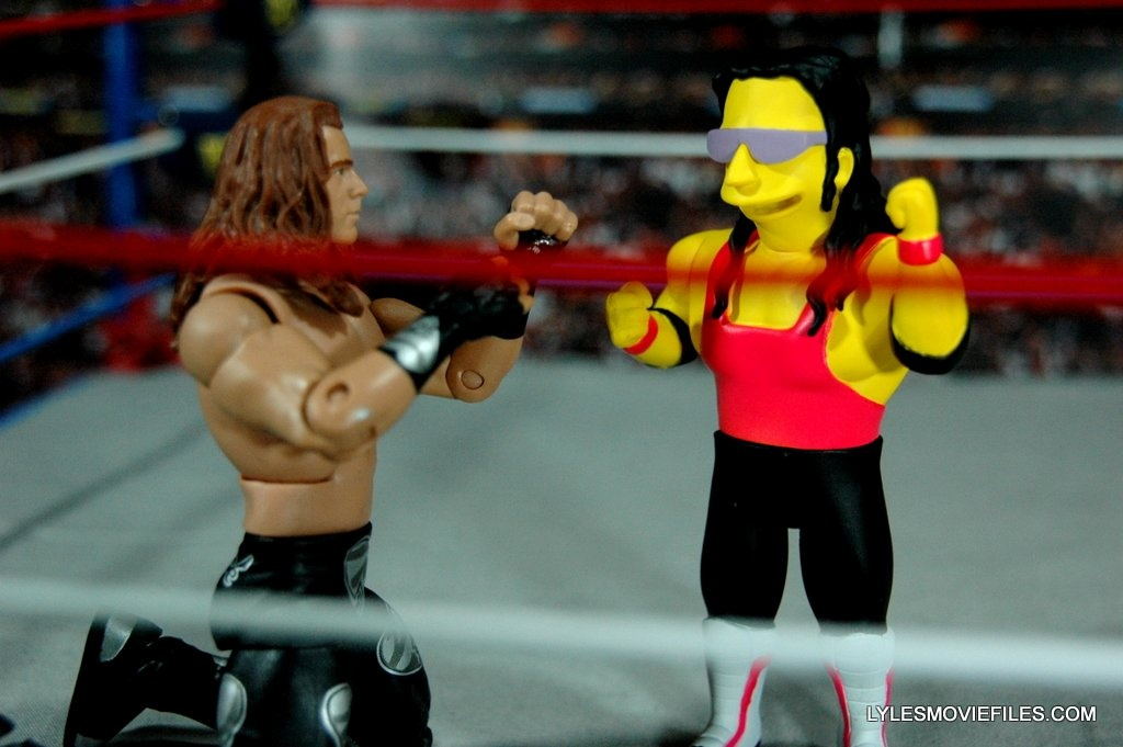 The Simpsons NECA Bret Hart - squaring off with Mattel Shawn Michaels