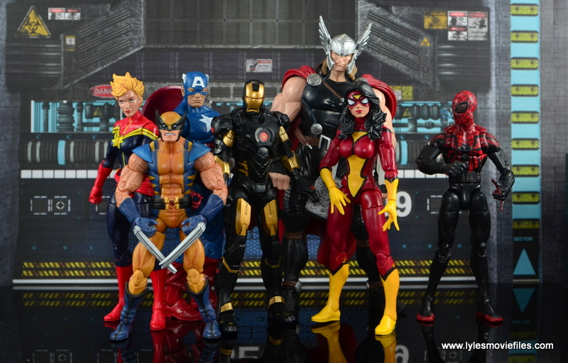 Marvel Legends Marvel Now Iron Man figure review - with Captain Marvel, Wolverine, Thor, Captain America, Spider-Woman, Superior Spider-Man