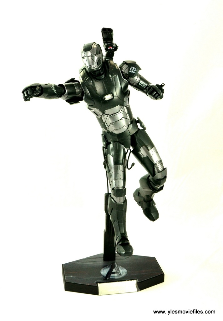 Hot Toys War Machine Age of Ultron figure review -on flight stand