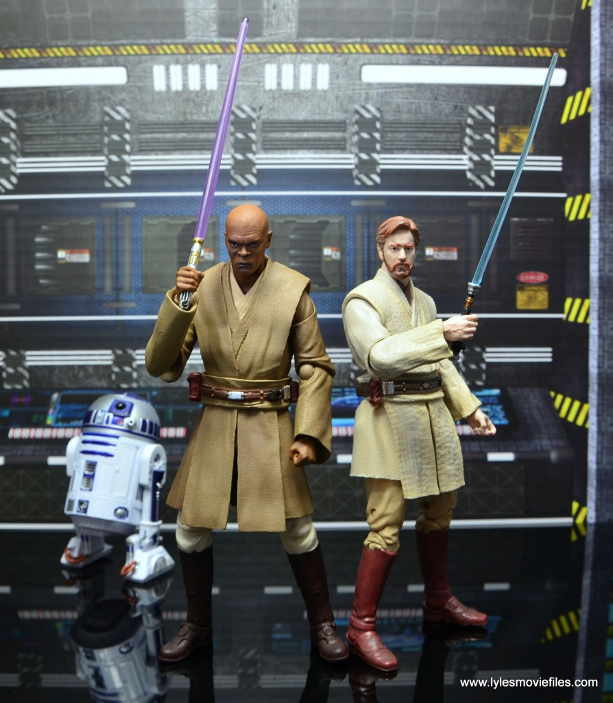 SH Figuarts Mace Windu figure review - with R2-D2 and Obi Wan Kenobi