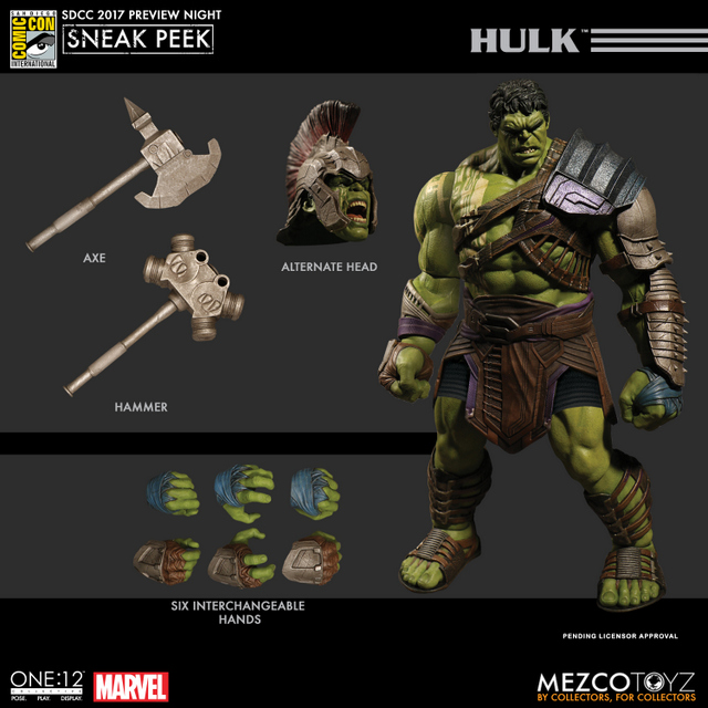 Mezco Toyz SDCC 2017 Preview Night One 12 Hulk from Thor Ragnarok accessories