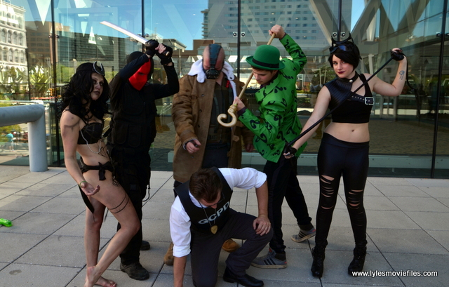 Baltimore Comic Con 2017 - cosplay - Enchantress, Deathstroke, Bane, Commissioner Gordon, The Riddler and Catwoman