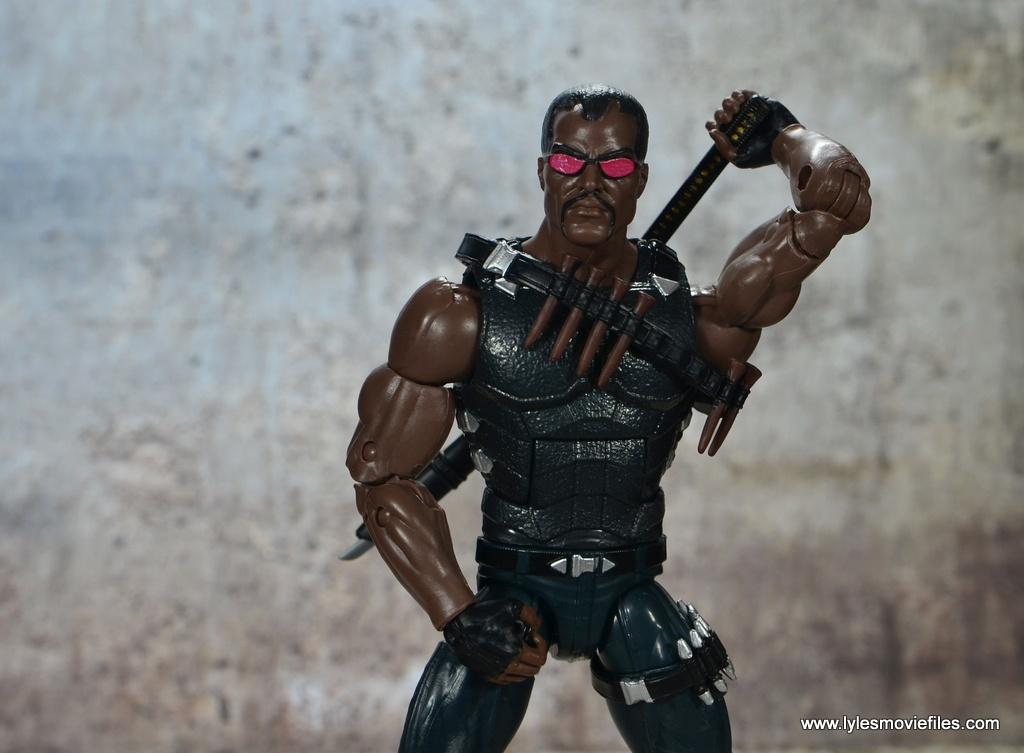 Marvel Legends Blade figure review -grabbing sword