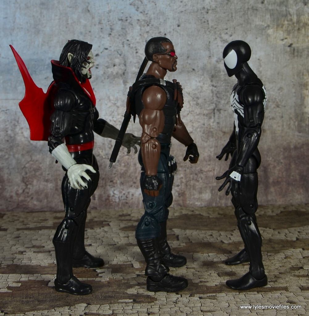 Marvel Legends Blade figure review -scale with Morbius and Spider-Man