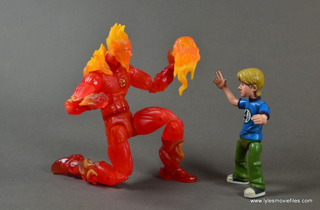Marvel Legends The Human Torch figure review - playing with Franklin