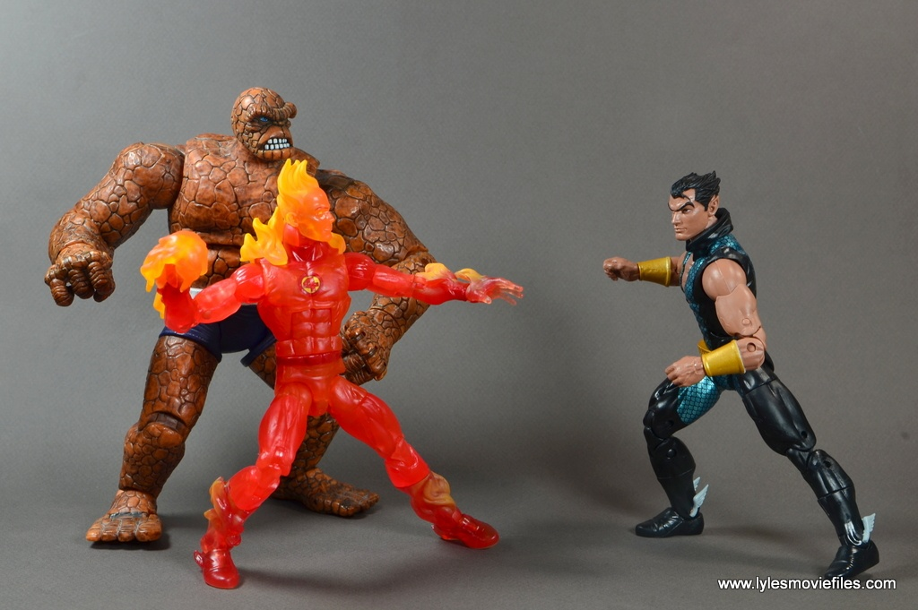 Marvel Legends The Human Torch figure review - with Thing fighting Namor