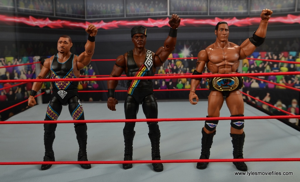 WWE Elite D-Lo Brown figure review - D-Lo Brown, Farooq and The Rock do Nation of Domination salute