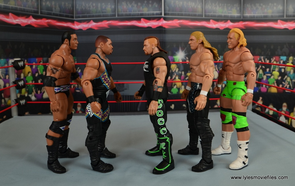 WWE Elite D-Lo Brown figure review - scale with The Rock, Road Dogg, Triple H and Mr. Ass