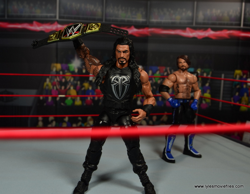 WWE Elite 45 Roman Reigns figure review - raising WWE title