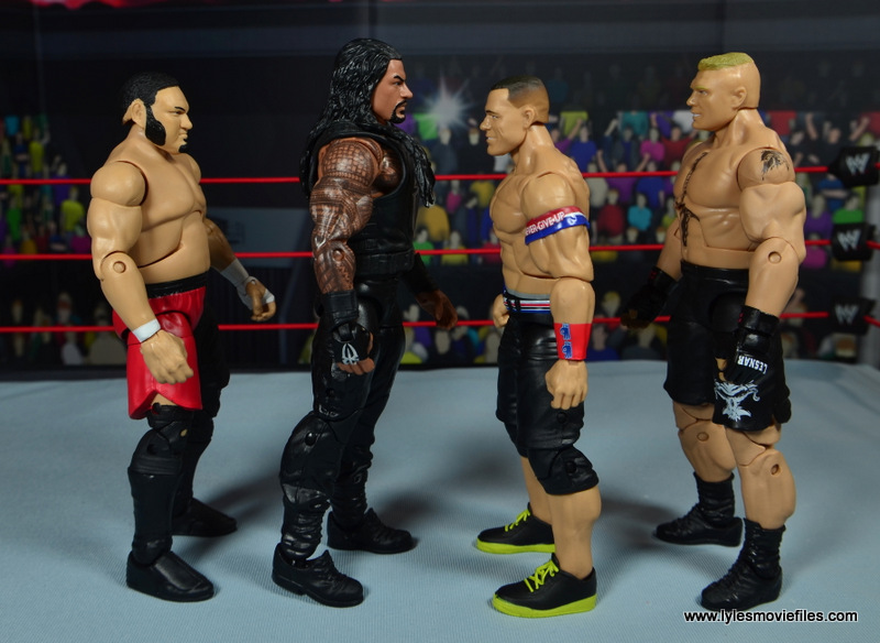 WWE Elite 45 Roman Reigns figure review - scale with Samoa Joe, John Cena and Brock Lesnar