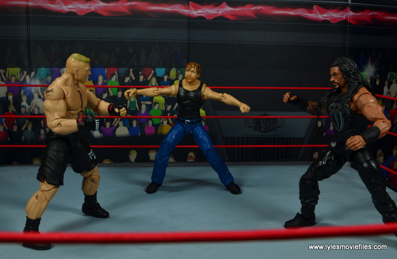 wwe network spotlight dean ambrose figure review -three way match with brock lesnar and roman reigns