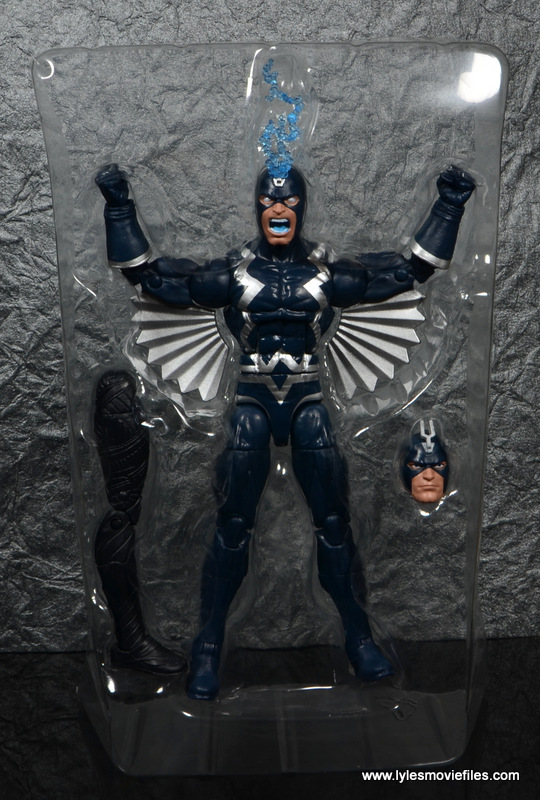 marvel legends black bolt figure review -in tray
