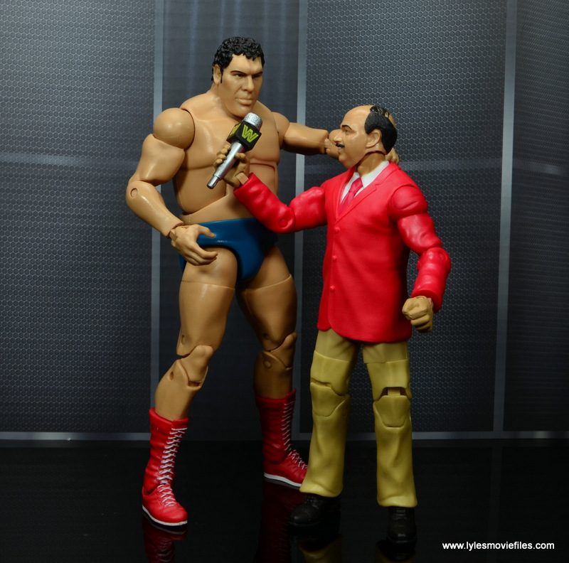 wwe flashback mean gene okerlund figure review - interviewing andre the giant