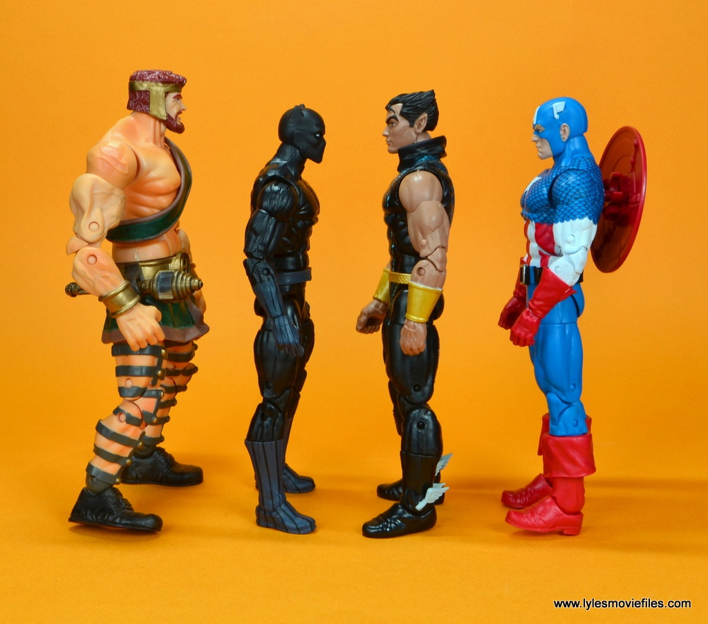 marvel legends black panther figure review - scale with hercules, namor and captain america
