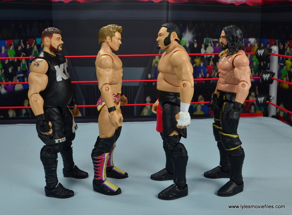 wwe elite chris jericho the list exclusive figue review -scale with kevin owens, samoa joe and seth rollins