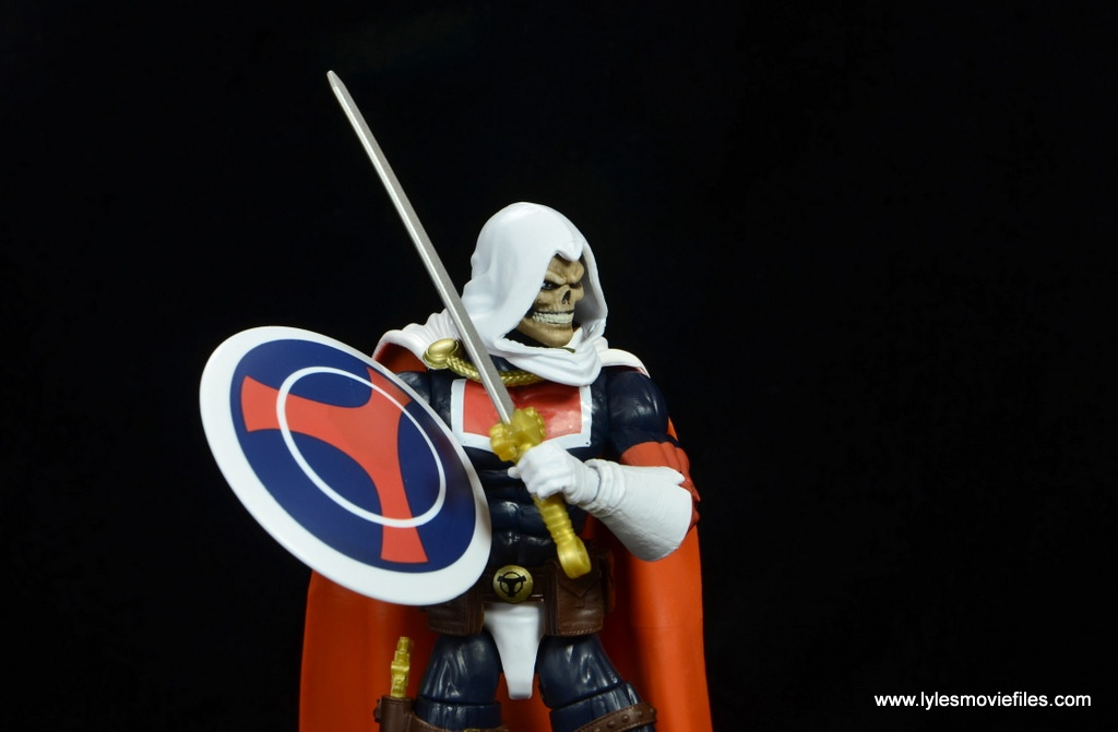 marvel legends taskmaster figure review - side shot of shield and sword