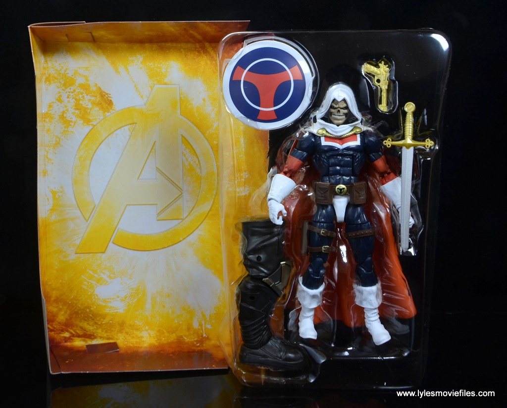 marvel legends taskmaster figure review - with backdrop and accessories