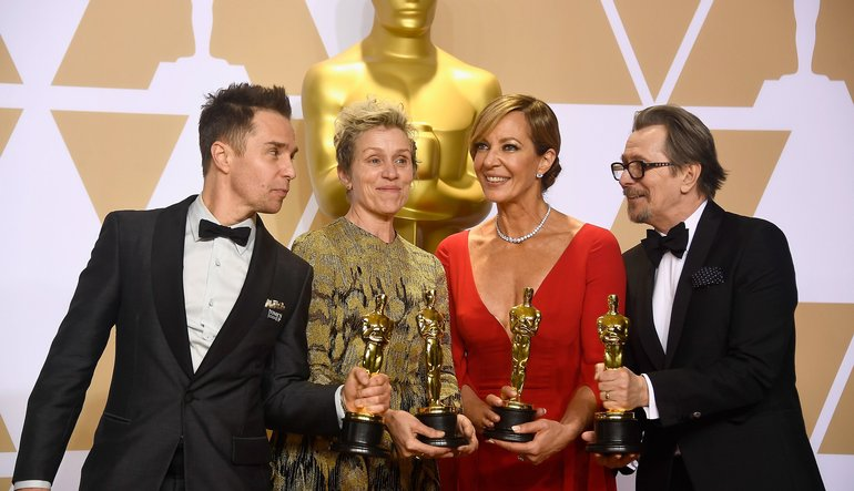 oscars-2018 sam rockwell, frances mcdormand, allison janey and gary oldman