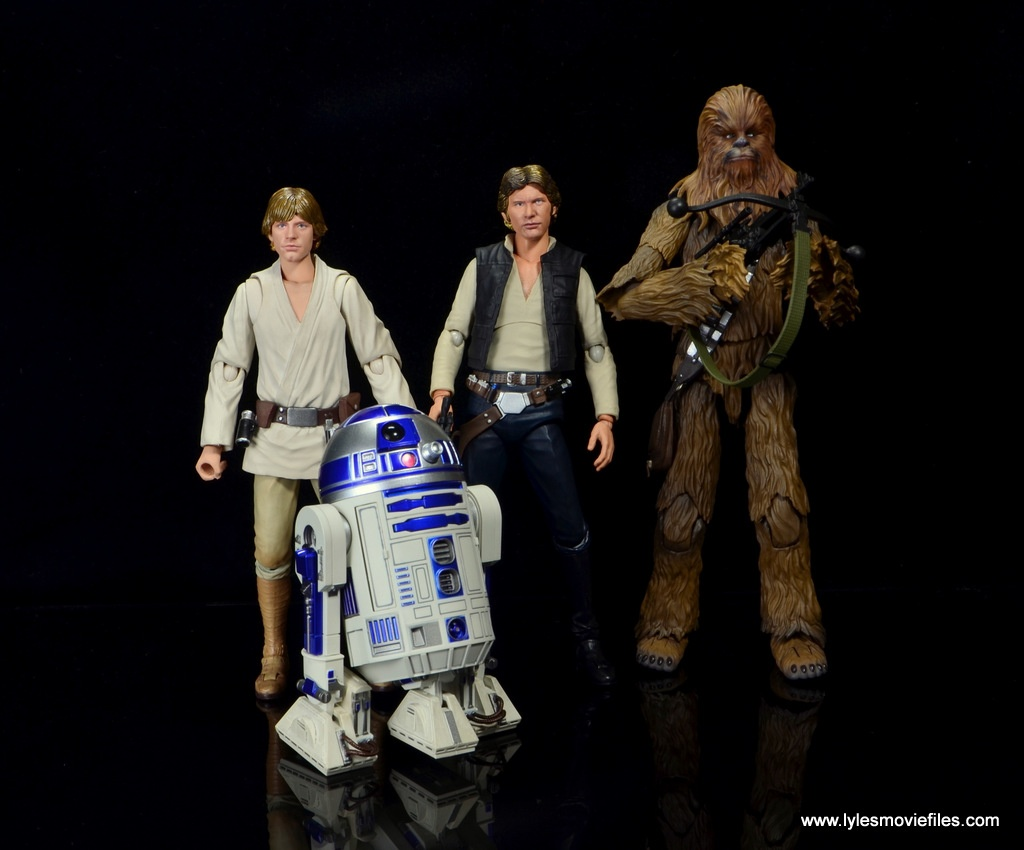 sh figuarts r2d2 figure review - with luke skywalker, han solo and chewbacca