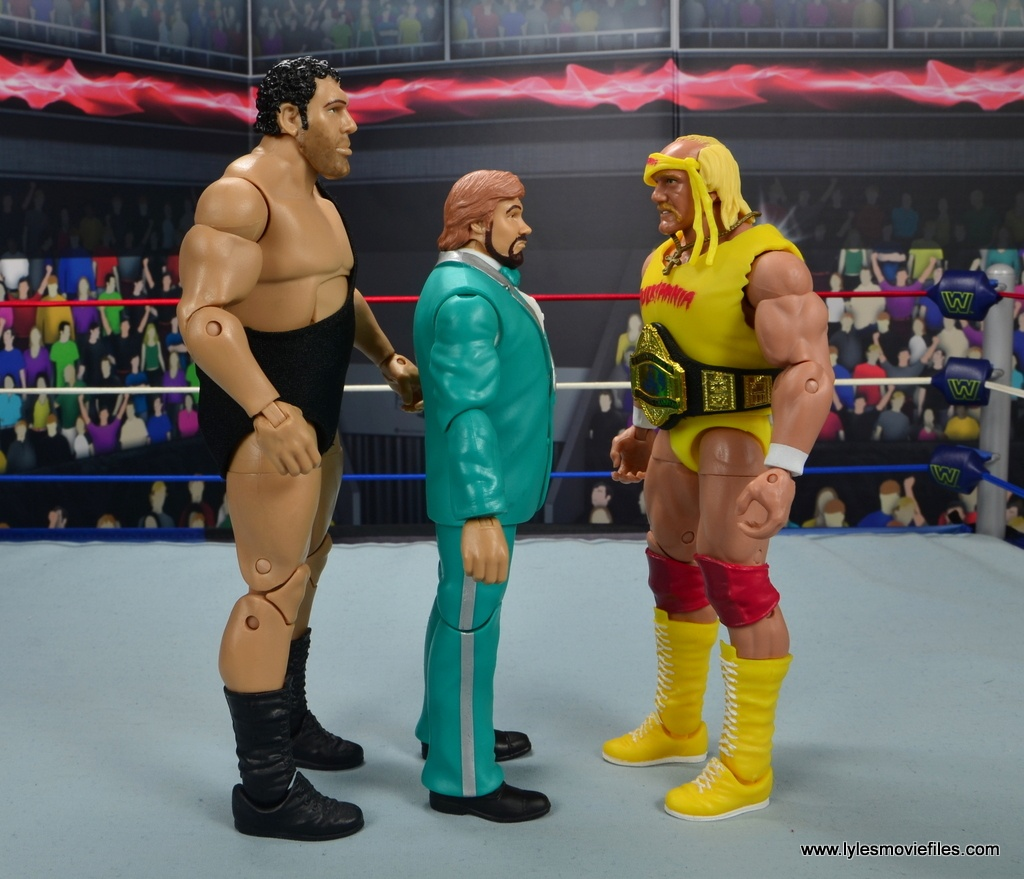 wwe million dollar man figure review -scale with andre the giant and hulk hogan