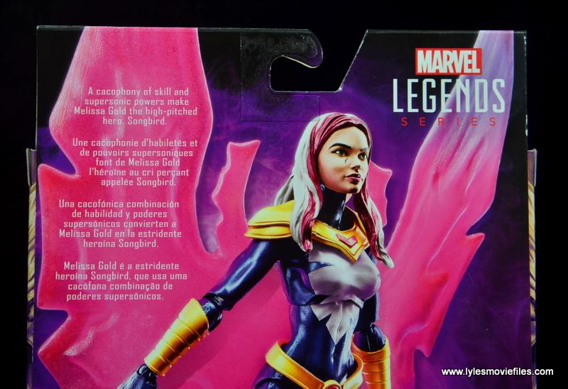 marvel legends songbird figure review - package bio