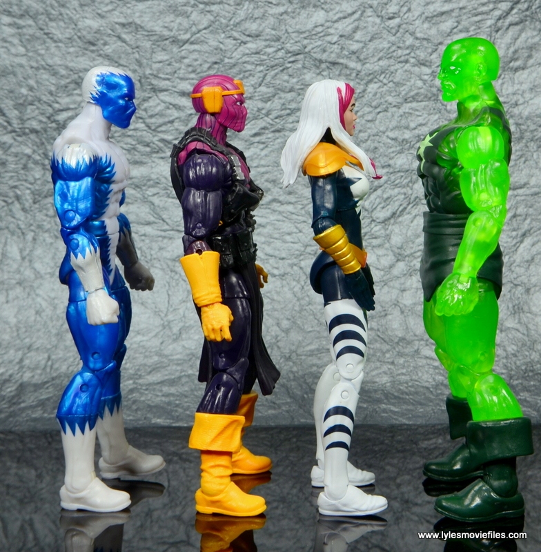 marvel legends songbird figure review - scale with blizzard, baron zemo and radioactive man