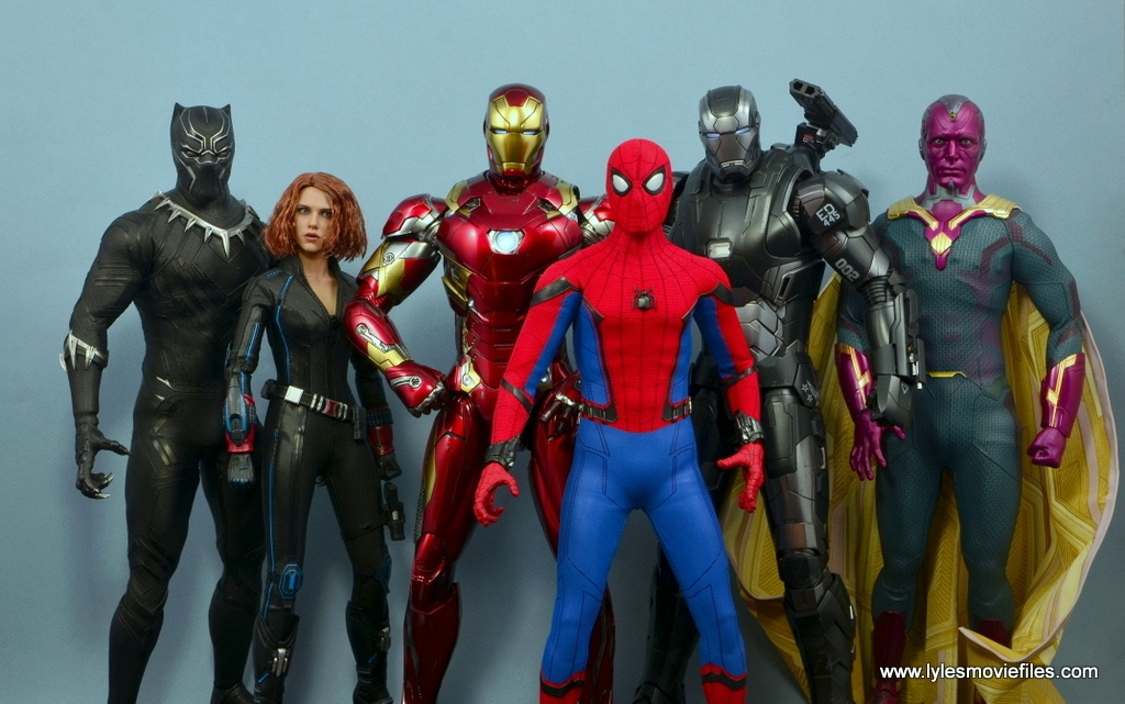 hot toys spider-man homecoming figure review - with hot toys black panther, black widow, iron man, war machine and vision