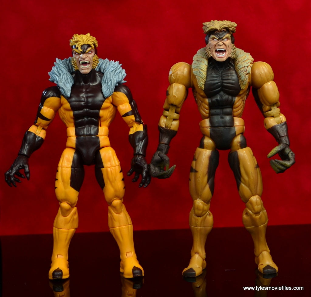 marvel legends sabretooth figure review - with toy biz version