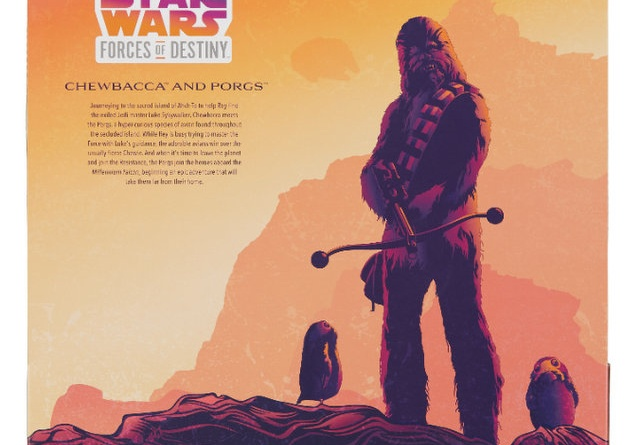 star wars forces of destiny chewbacca and porgs set - package rear