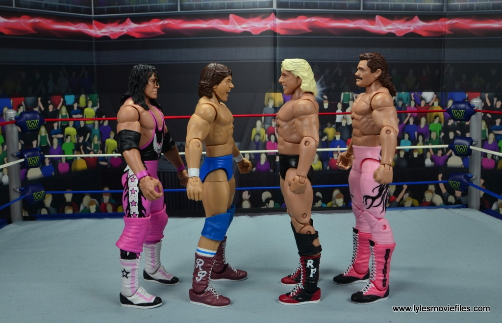 wwe hall of fame rowdy roddy piper figure review - scale with bret hart, ric flair and rick rude