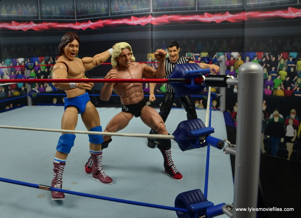 wwe hall of fame rowdy roddy piper figure review - throwing flair into the turnbuckle