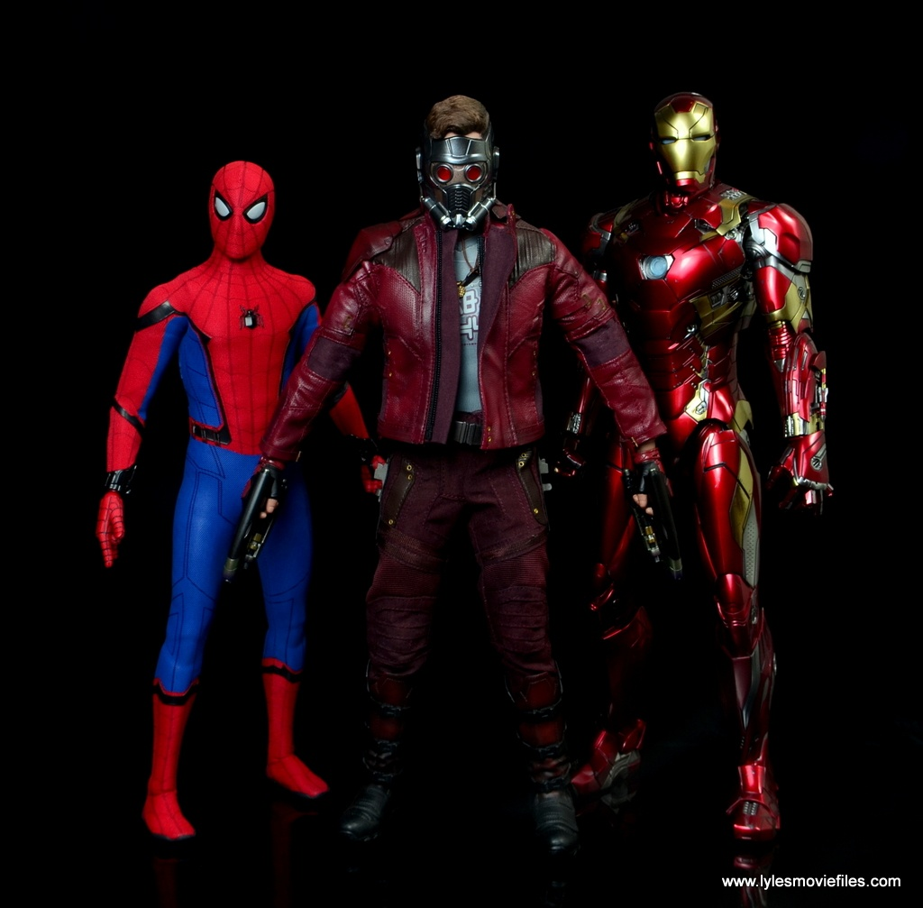 hot toys guardians of the galaxy vol. 2 star-lord figure review scale with spider-man and iron man