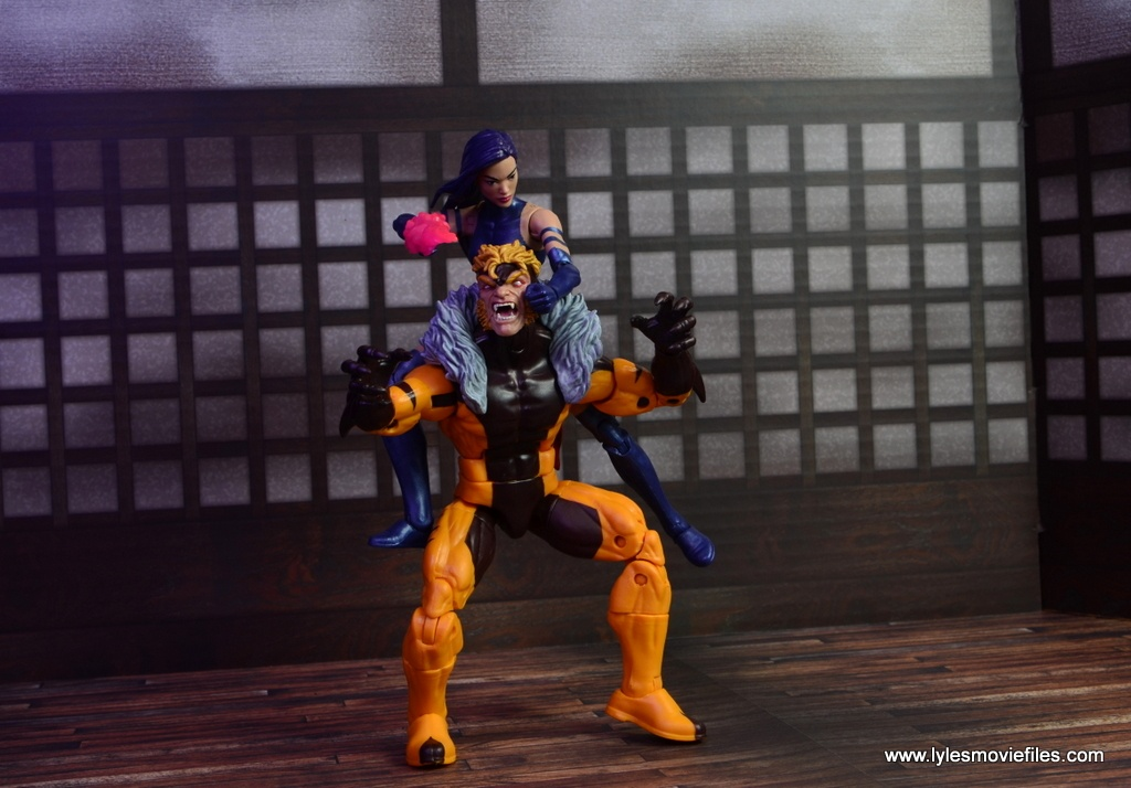 marvel legends psylocke figure review -about to psychic knife strike