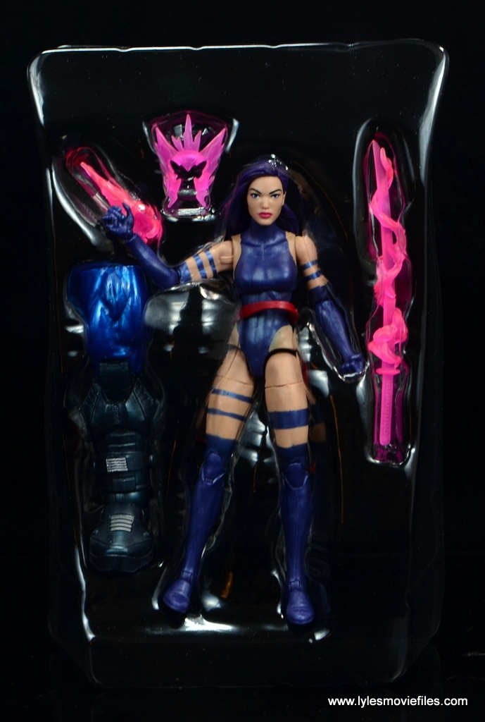 marvel legends psylocke figure review - accessories in tray