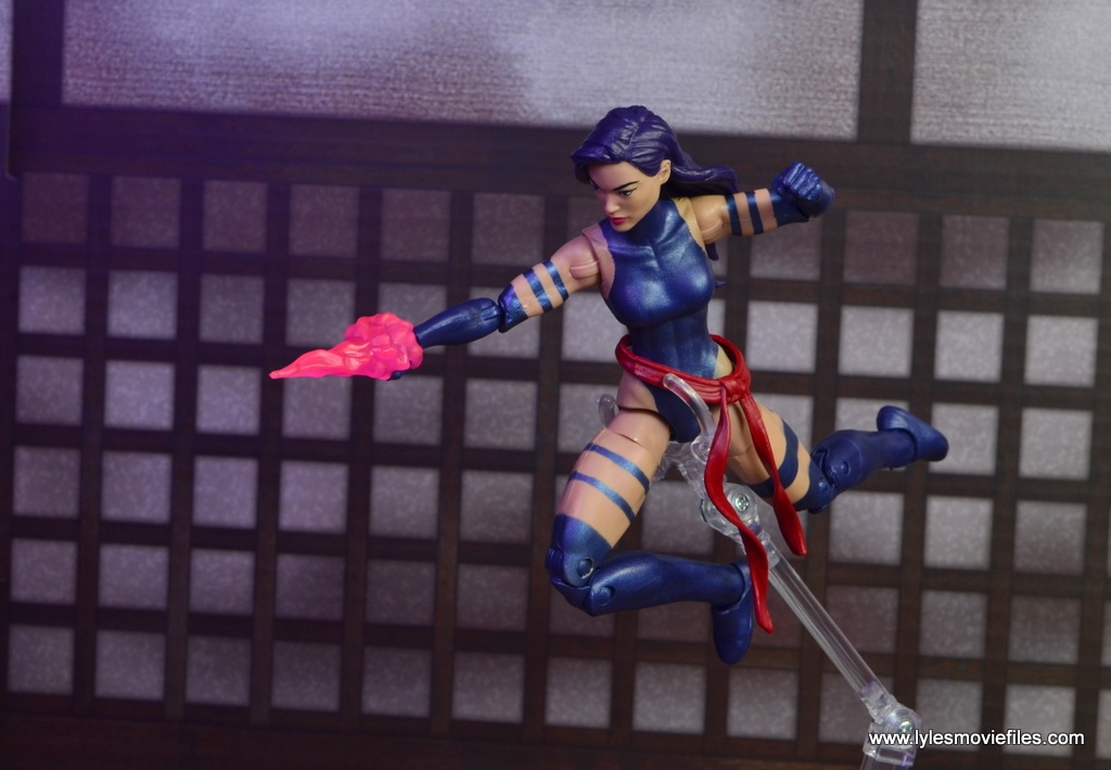 marvel legends psylocke figure review -leaping attack