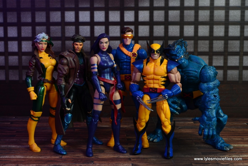 marvel legends psylocke figure review - with rogue, gambit, cyclops, wolverine and beast