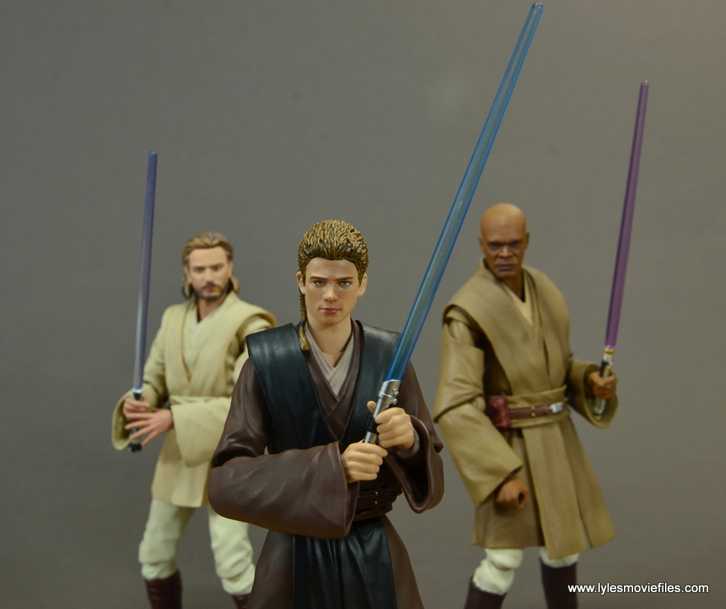 sh figuarts anakin skywalker figure review - with obi-wan and mace windu