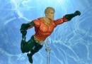 dc essentials aquaman action figure review - main swimming pic