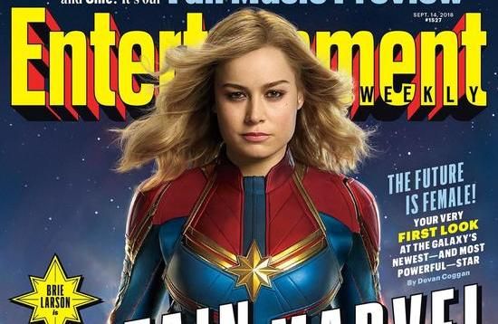 ew cover with brie larson as captain marvel