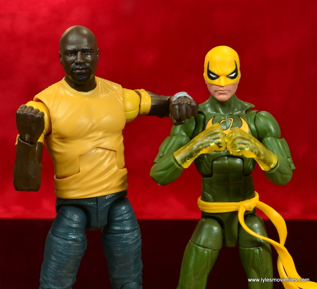 marvel legends luke cage and claire figure review -cage hanging with iron fist