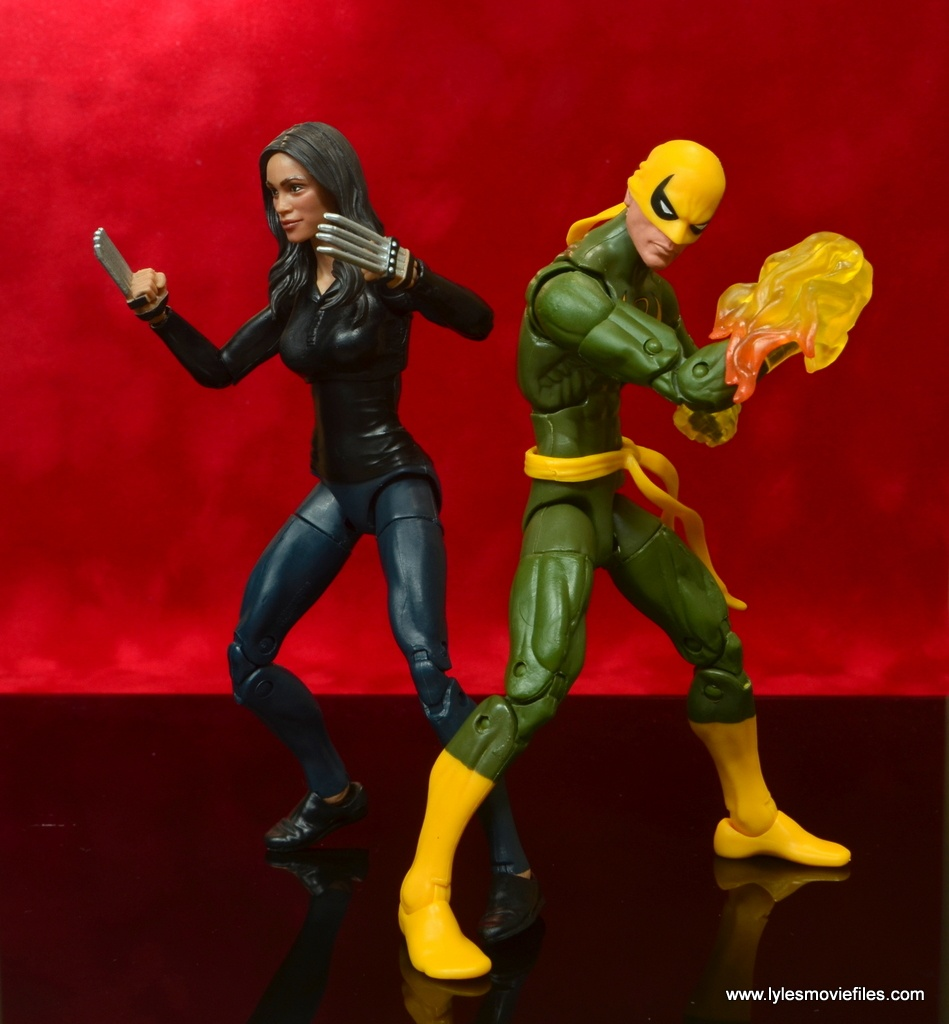 marvel legends luke cage and claire figure review -claire temple fighting with iron fist