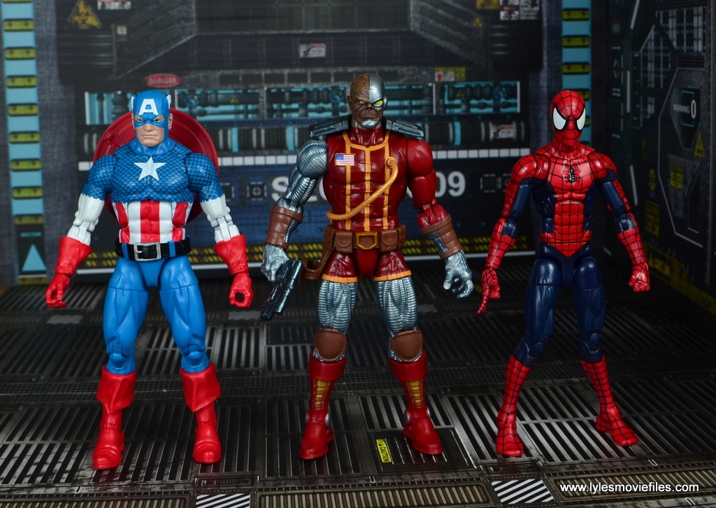 marvel legends deathlok figure review - scale with captain america and spider-man