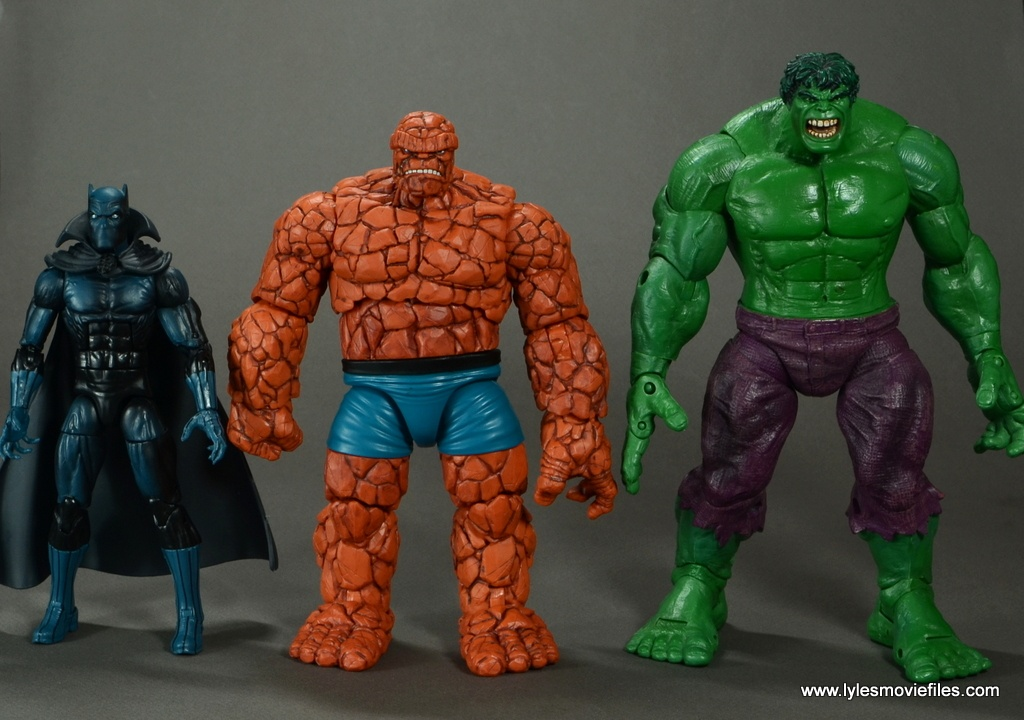 marvel legends the thing figure review - scale with black panther and the hulk