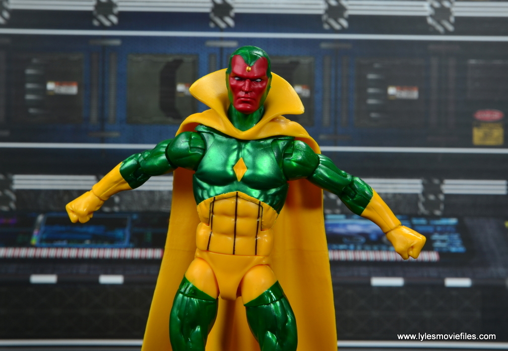 marvel legends vision figure review -arms out
