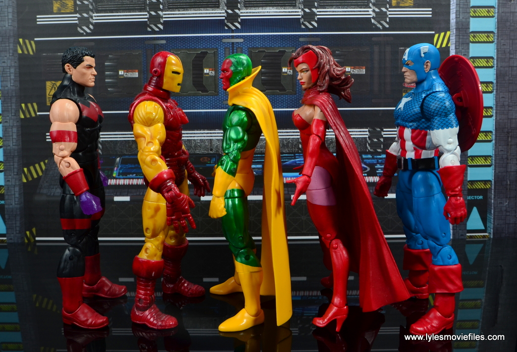 marvel legends vision figure review - scale with wonder man, iron man, scarlet witch and captain america